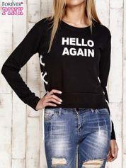 Bluza lace up z napisem czarna