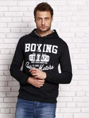 Bluza męska z napisem BOXING i kapturem czarna