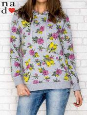 Bluza z kapturem w kwiaty szara