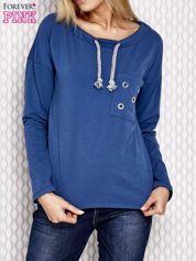 Bluza z plecionym sznurkiem przy dekolcie ciemnoniebieska