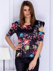 Bluzka damska czarna w kwiaty