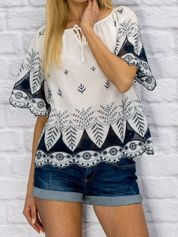 Bluzka damska z folkowym haftem biała
