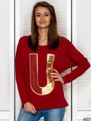 Bluzka damska z ozdobną literą bordowa
