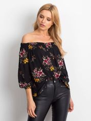 Bluzka hiszpanka czarna w kwiaty