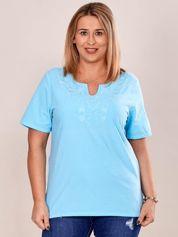 Bluzka koszulowa z haftowanym wzorem niebieska PLUS SIZE