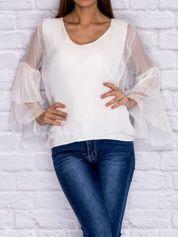 Bluzka koszulowa z rozszerzanymi rękawami biała