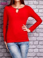 Bluzka z długim rękawem i ozdobnym dekoltem z łezką czerwona