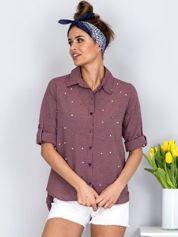 Bordowa koszula w kratę z perełkami