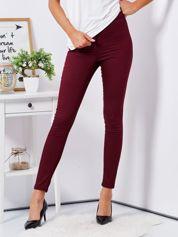 Bordowe dopasowane spodnie high waist