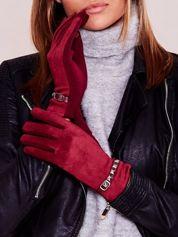 Bordowe miękkie rękawiczki ocieplane z ćwiekami