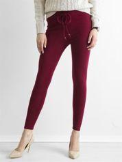 Bordowe sztruksowe legginsy