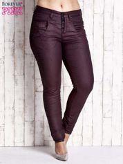 Bordowe woskowane spodnie slim PLUS SIZE