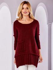 Bordowy sweter z kieszenią