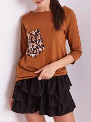 Brązowa bluzka z motywem zwierzęcym