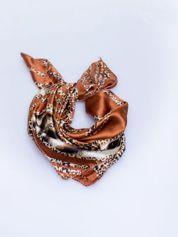 Brązowa chusta apaszka z motywem panterki