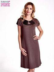 Brązowa sukienka z cekinowym wykończeniem przy dekolcie