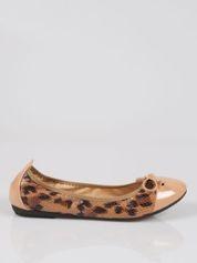 Brązowe panterkowe balerinki faux leather Wild na gumkę