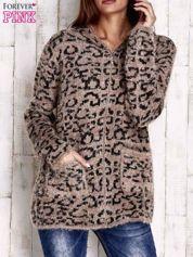Brązowy sweter zapinany na suwak