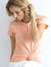 Brzoskwiniowy t-shirt damski