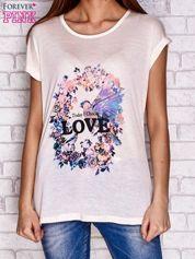Brzoskwiniowy t-shirt z napisem TODAY I CHOOSE LOVE