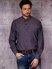 Ciemnofioletowa koszula męska w drobny prążek PLUS SIZE