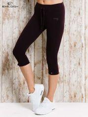 For Fitness Ciemnofioletowe legginsy sportowe 3/4 z patką na guzik