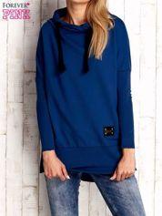 Ciemnoniebieska asymetryczna tunika z troczkami