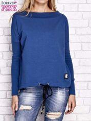 Ciemnoniebieska bluza z szerokim ściągaczem i troczkami
