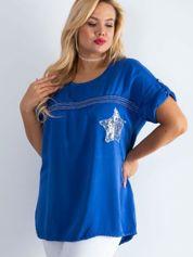 Ciemnoniebieska bluzka plus size z cekinami