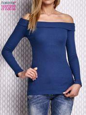 Ciemnoniebieska prążkowana bluzka z hiszpańskim dekoltem