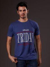 Ciemnoniebieski t-shirt męski HELLO FRIDAY