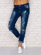 Ciemnoniebieskie spodnie jeansowe z dziurami