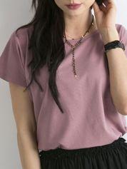 Ciemnoróżowy t-shirt damski z bawełny