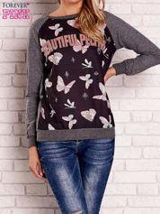 Ciemnoszara bluza z napisem BEAUTIFUL PELITER i motywem motyli