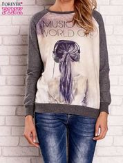 Ciemnoszara bluza z napisem MUSIC ON WORLD OFF