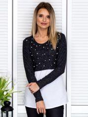 Ciemnoszara bluzka z koszulą i perełkami