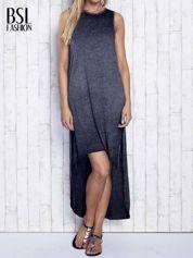 Ciemnoszara dekatyzowana sukienka maxi z dłuższym tyłem