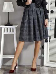 Ciemnoszara spódnica w kratkę z kontrafałdami