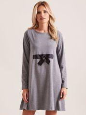 Ciemnoszara sukienka bawełniana z kokardą