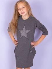Ciemnoszara sukienka dla dziewczynki z gwiazdami