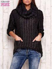 Ciemnoszary melanżowy sweter z szerokim golfem i kieszeniami