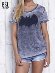 Ciemnoszary t-shirt acid wash z motywem Batmana