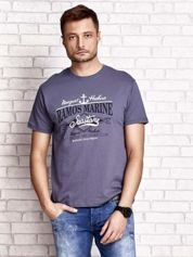 Ciemnoszary t-shirt męski z napisami i kotwicą