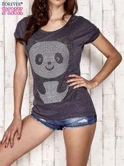 Ciemnoszary t-shirt z aplikacją pandy z dżetów