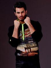 Czarna bluza męska z nowojorskim nadrukiem