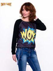 Czarna bluza z komiksowym nadrukiem WOW