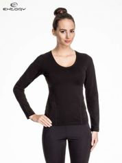 Czarna bluzka sportowa z dekoltem V