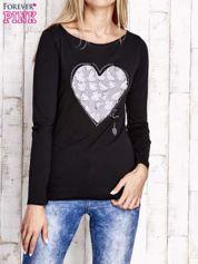 Czarna bluzka z materiałową wstawką