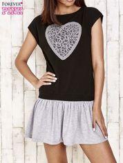 Czarna dresowa sukienka tenisowa z sercem