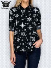 Czarna koszula w zimowy wzór